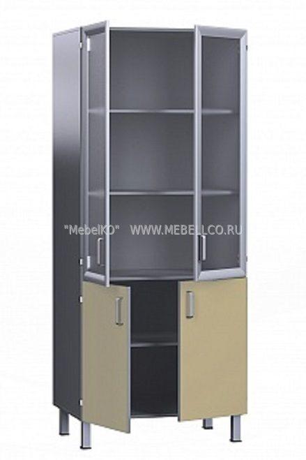 шкаф медицинский со стеклом двухстворчатый с 4 полками бт шв 80